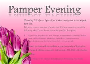 pamper evening flyer
